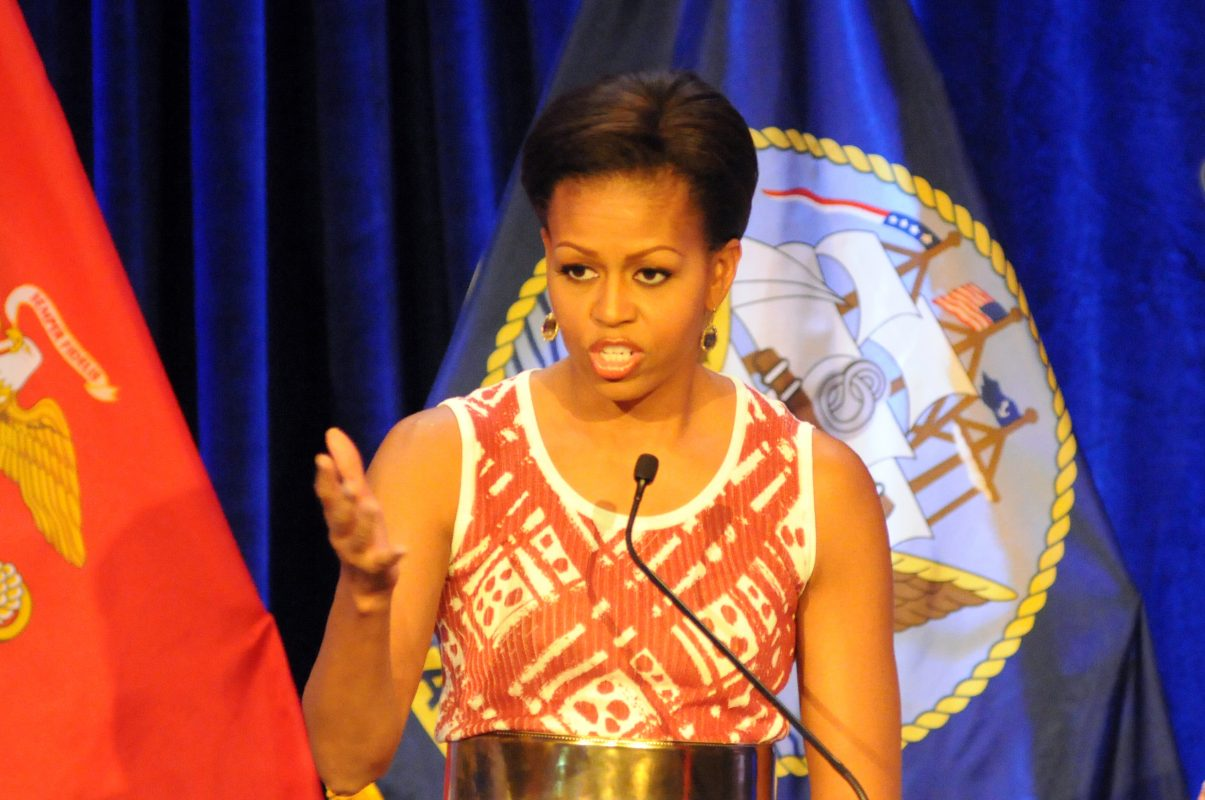 110407-N-4930E-181 WASHINGTON (Apr. 7, 2011) First Lady Michelle Obama talks about the individual accomplishments of each recipient for the Military Child of the Year Award. (U.S. Navy photo by Mass Communication Specialist 1st Class Abraham Essenmacher/Released)